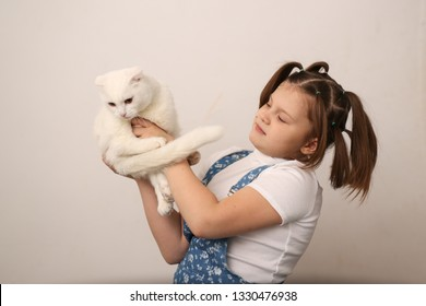 Girl holding a cat's paws, offending a cat, a cat like a toy, cruel treatment of animals