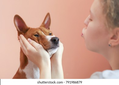 Girl holding dogs head in her palms, toned.