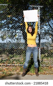 Girl holding an empty poster - type your own message
