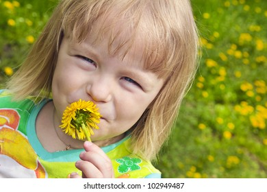 Girl holding flower punches fly.