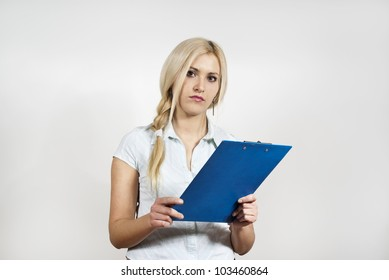 girl holding a folder on the background