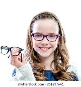 Girl holding glasses in hand.Isolated on white background.