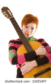 Girl holding guitar on white isolated background