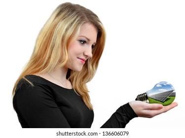 Girl holding in hands  bulb