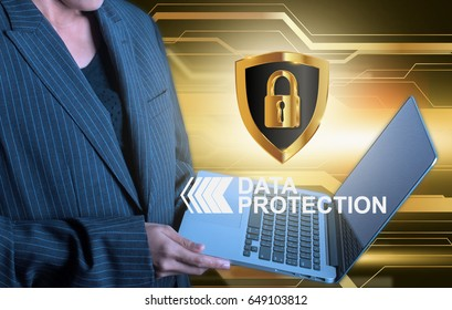 Girl  holding laptop data protection shield