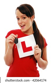 Girl holding 'L'plate and car key