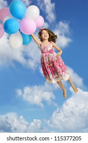 Girl Holding Onto Balloons and Floating In The Air