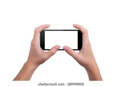 Girl holding the phone with both hands