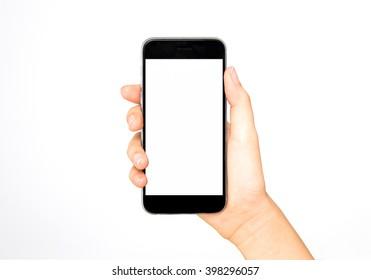 Girl holding smart phone in hand, white screen