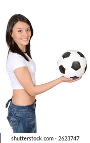 girl holding a soccer ball over a white background