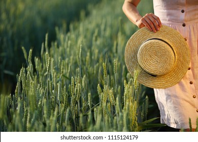 Girl holding straw hat, copy space, provences, stay in green  field wheat, summer, dress