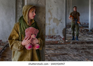 A girl holding a teddy bear in her hands is hiding from a man in military clothes with a machine gun weapon (soldier, murderer, maniac or kidnapper) in an abandoned building. People in danger trouble