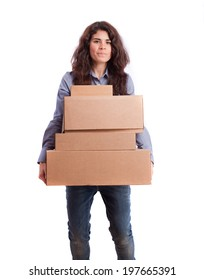 Girl holding a weighty cardboard boxes