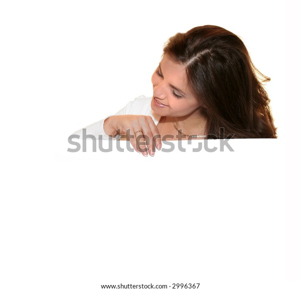 Girl holding a white card over a white background