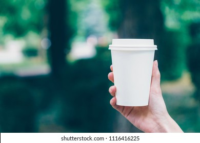 Girl is holding white cup, mug in hands. Mockup for products presentations, logo and text. Hand holding paper cup of coffee in a green park. Branding mockup scene
