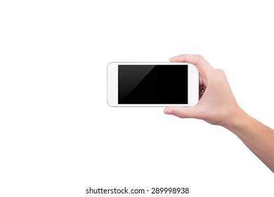 Girl holding the white phone upright in her right hand
