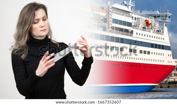 Girl holds a gauze bandage. The concept is to get an epidemic while traveling. Cruise ship as a symbol of sea travel. A woman got infected on a cruise. Passengers detained in quarantine
