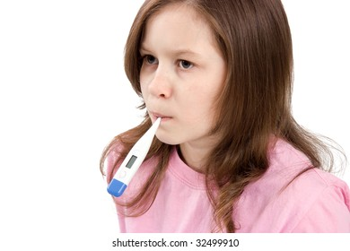 The girl holds a thermometer in a mouth