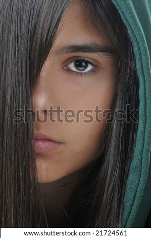 Girl Hoodie Hair Front Face Half Stock Photo Edit Now 21724561