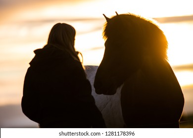 Girl with horse during sunset in Iceland, relationship, love between human (people) and animal beautiful wild horses with amazing view, summer sunset atmosphere, travel in Iceland