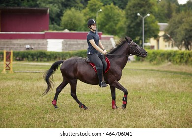 Girl with horse. Girl in helmet, dark t-shirt and pants and high boots riding a horse
