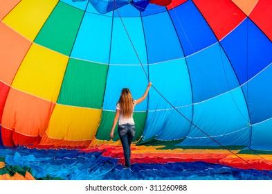 Girl and a hot air balloon