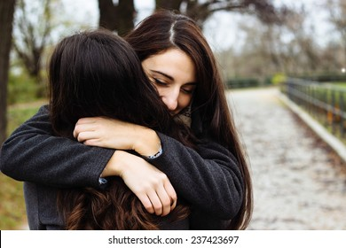 Girl hugging her best friend