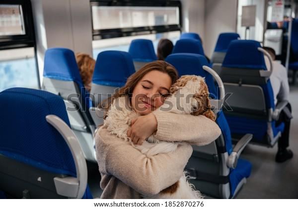 Girl hugs her dog spaniel in the train