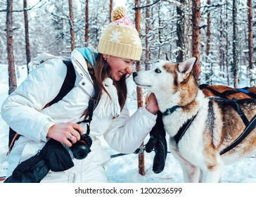 Girl and Husky dog in sled in Finland in Lapland in winter.