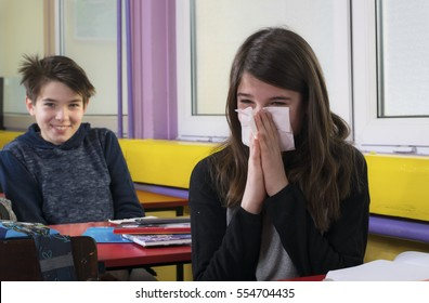 A girl is ill in school