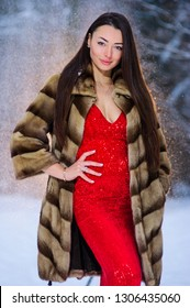 A girl in a image of a queen poses in a snow covered winter forest. Long red dress,