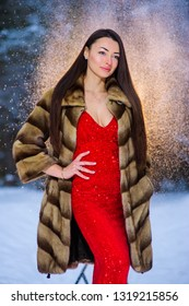 A girl in a image of a queen poses in a snow covered winter forest. Long red dress.