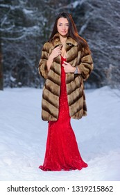 A girl in a image of a queen poses in a snow-covered winter forest. Long red dress, bouquet of fruits, red apples.