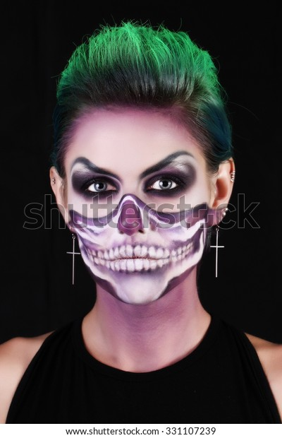 Girl Image Zombie Makeup Halloween Stock Photo (Edit Now