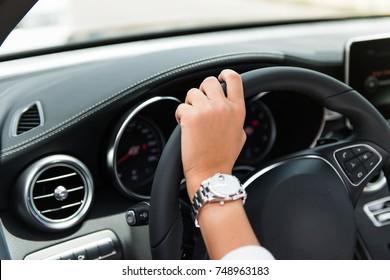 Girl inside a luxury car