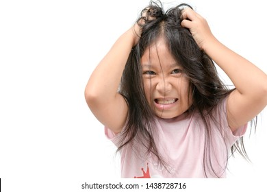 Girl itchy his hair or frustrated and angry kid isolated white background, problem Health concept