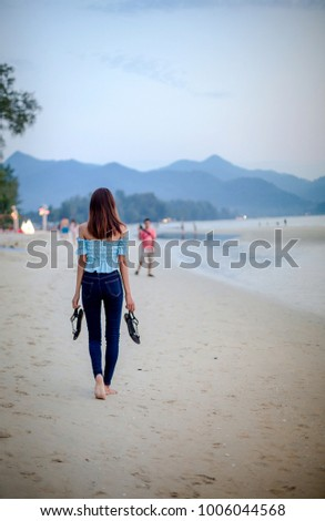 f26b03aa8e9b3 Girl Jeans Shirt Shoulder Open Her Stock Photo (Edit Now) 1006044568 ...
