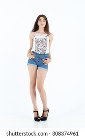 girl in jeans shorts