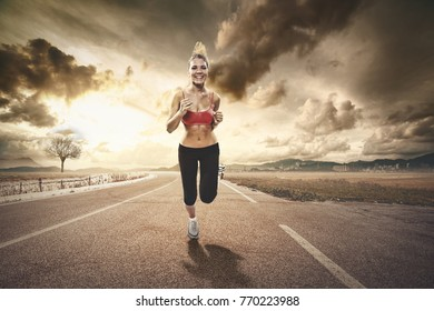 girl jogging far from the city