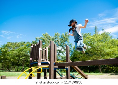 Girl to jump in the park