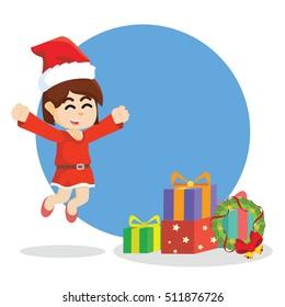 girl jumping to christmas box