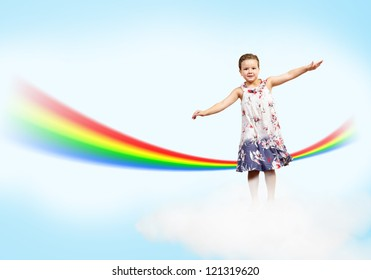 girl jumping on clouds and a rainbow, collage, place for text