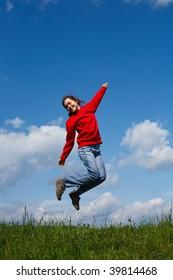 Girl jumping outdoor
