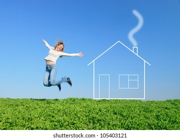 The girl jumps in the field and dreams about house