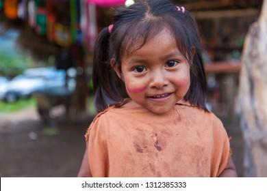 Girl from the jungle of Peru.  April 18, 2014, Chanchamayo. Peru.