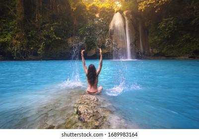 Girl at Kawasan Falls Waterfall - Cebu, Philippines
