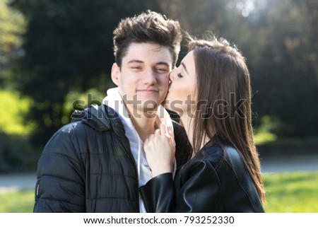 Girl Kissing Boy Cheek Valentines Day Stock Photo Edit Now