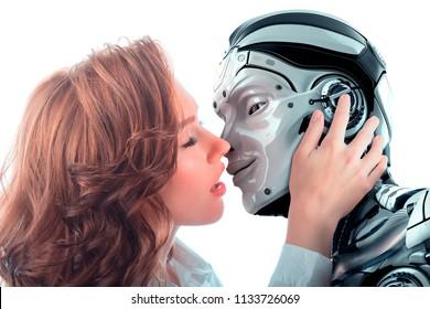 Girl kissing robot