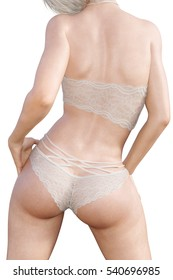 Girl in lacy underwear. Back view. White transparent panties and bra. Extravagant fashion art. Woman standing candid provocative sexy pose. Photorealistic 3D rendering isolate illustration. Studio.