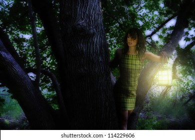 a girl with a lantern in a tree